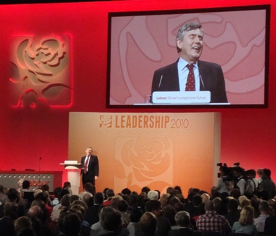 Gordon Brown gaf een speech voor de bekendmaking